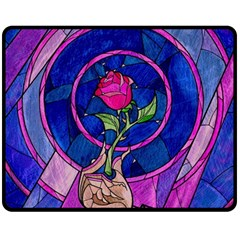 Enchanted Rose Stained Glass Double Sided Fleece Blanket (medium)  by Onesevenart