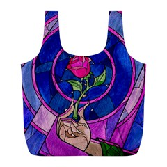 Enchanted Rose Stained Glass Full Print Recycle Bags (l)  by Onesevenart
