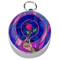 Enchanted Rose Stained Glass Silver Compasses by Onesevenart