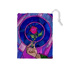 Enchanted Rose Stained Glass Drawstring Pouches (medium)  by Onesevenart