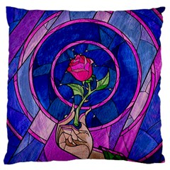 Enchanted Rose Stained Glass Large Flano Cushion Case (two Sides) by Onesevenart