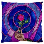 Enchanted Rose Stained Glass Large Flano Cushion Case (Two Sides)