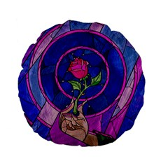 Enchanted Rose Stained Glass Standard 15  Premium Flano Round Cushions by Onesevenart