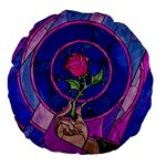 Enchanted Rose Stained Glass Large 18  Premium Flano Round Cushions
