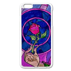 Enchanted Rose Stained Glass Apple Iphone 6 Plus/6s Plus Enamel White Case by Onesevenart