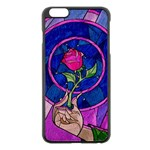 Enchanted Rose Stained Glass Apple iPhone 6 Plus/6S Plus Black Enamel Case
