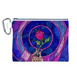 Enchanted Rose Stained Glass Canvas Cosmetic Bag (L)