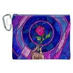 Enchanted Rose Stained Glass Canvas Cosmetic Bag (XXL)