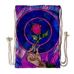 Enchanted Rose Stained Glass Drawstring Bag (large) by Onesevenart