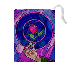 Enchanted Rose Stained Glass Drawstring Pouches (extra Large) by Onesevenart