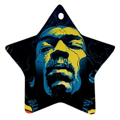 Gabz Jimi Hendrix Voodoo Child Poster Release From Dark Hall Mansion Ornament (star)  by Onesevenart
