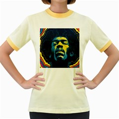 Gabz Jimi Hendrix Voodoo Child Poster Release From Dark Hall Mansion Women s Fitted Ringer T Shirts by Onesevenart
