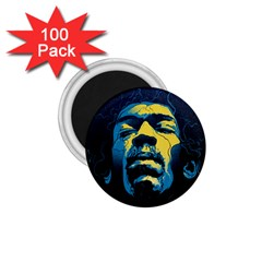 Gabz Jimi Hendrix Voodoo Child Poster Release From Dark Hall Mansion 1 75  Magnets (100 Pack)  by Onesevenart