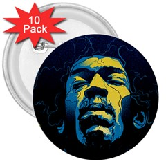 Gabz Jimi Hendrix Voodoo Child Poster Release From Dark Hall Mansion 3  Buttons (10 Pack)  by Onesevenart