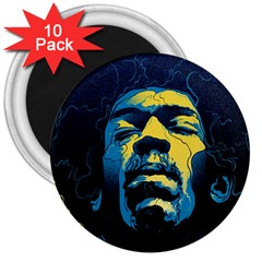 Gabz Jimi Hendrix Voodoo Child Poster Release From Dark Hall Mansion 3  Magnets (10 Pack)  by Onesevenart