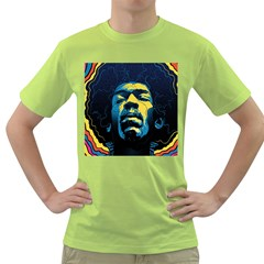 Gabz Jimi Hendrix Voodoo Child Poster Release From Dark Hall Mansion Green T Shirt by Onesevenart