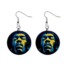 Gabz Jimi Hendrix Voodoo Child Poster Release From Dark Hall Mansion Mini Button Earrings by Onesevenart