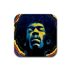 Gabz Jimi Hendrix Voodoo Child Poster Release From Dark Hall Mansion Rubber Square Coaster (4 Pack)  by Onesevenart
