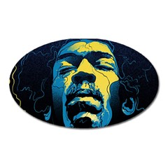 Gabz Jimi Hendrix Voodoo Child Poster Release From Dark Hall Mansion Oval Magnet by Onesevenart
