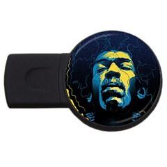 Gabz Jimi Hendrix Voodoo Child Poster Release From Dark Hall Mansion Usb Flash Drive Round (2 Gb)  by Onesevenart