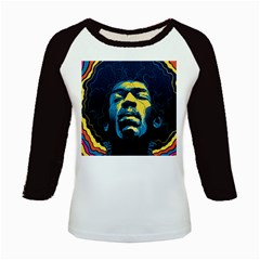 Gabz Jimi Hendrix Voodoo Child Poster Release From Dark Hall Mansion Kids Baseball Jerseys by Onesevenart