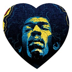 Gabz Jimi Hendrix Voodoo Child Poster Release From Dark Hall Mansion Jigsaw Puzzle (heart) by Onesevenart