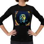 Gabz Jimi Hendrix Voodoo Child Poster Release From Dark Hall Mansion Women s Long Sleeve Dark T-Shirts