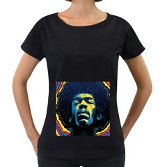 Gabz Jimi Hendrix Voodoo Child Poster Release From Dark Hall Mansion Women s Loose Fit T Shirt (black) by Onesevenart