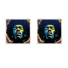 Gabz Jimi Hendrix Voodoo Child Poster Release From Dark Hall Mansion Cufflinks (square) by Onesevenart