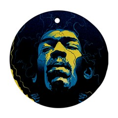 Gabz Jimi Hendrix Voodoo Child Poster Release From Dark Hall Mansion Round Ornament (two Sides)  by Onesevenart