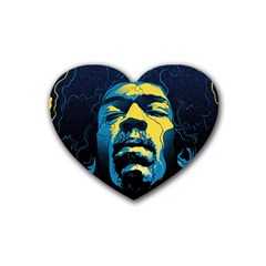 Gabz Jimi Hendrix Voodoo Child Poster Release From Dark Hall Mansion Rubber Coaster (heart)  by Onesevenart