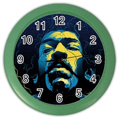 Gabz Jimi Hendrix Voodoo Child Poster Release From Dark Hall Mansion Color Wall Clocks by Onesevenart