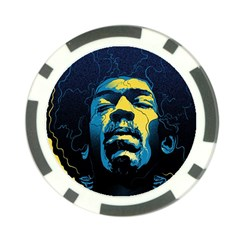 Gabz Jimi Hendrix Voodoo Child Poster Release From Dark Hall Mansion Poker Chip Card Guards (10 Pack)  by Onesevenart