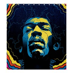 Gabz Jimi Hendrix Voodoo Child Poster Release From Dark Hall Mansion Shower Curtain 66  X 72  (large)  by Onesevenart