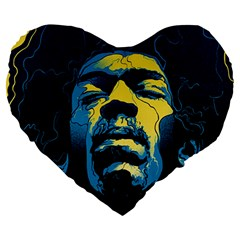 Gabz Jimi Hendrix Voodoo Child Poster Release From Dark Hall Mansion Large 19  Premium Heart Shape Cushions by Onesevenart