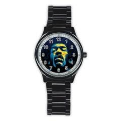 Gabz Jimi Hendrix Voodoo Child Poster Release From Dark Hall Mansion Stainless Steel Round Watch by Onesevenart