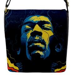 Gabz Jimi Hendrix Voodoo Child Poster Release From Dark Hall Mansion Flap Messenger Bag (s) by Onesevenart