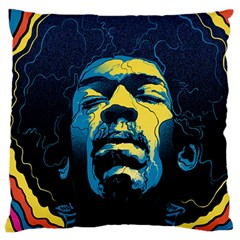 Gabz Jimi Hendrix Voodoo Child Poster Release From Dark Hall Mansion Large Flano Cushion Case (two Sides) by Onesevenart