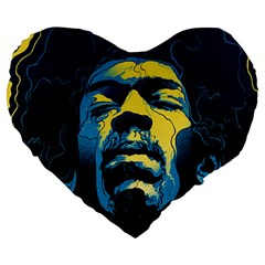 Gabz Jimi Hendrix Voodoo Child Poster Release From Dark Hall Mansion Large 19  Premium Flano Heart Shape Cushions by Onesevenart