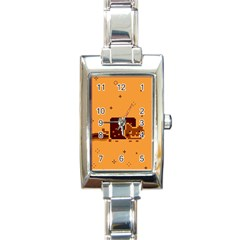 Nyan Cat Vintage Rectangle Italian Charm Watch by Onesevenart