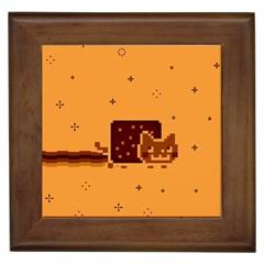 Nyan Cat Vintage Framed Tiles by Onesevenart