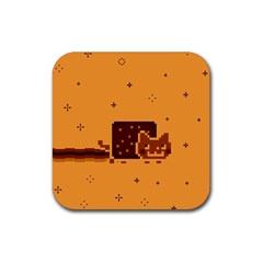 Nyan Cat Vintage Rubber Coaster (square)  by Onesevenart