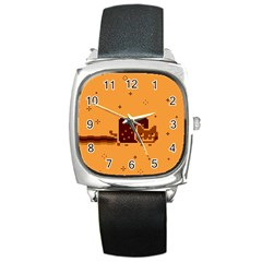 Nyan Cat Vintage Square Metal Watch by Onesevenart