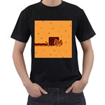 Nyan Cat Vintage Men s T-Shirt (Black) (Two Sided)