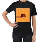 Nyan Cat Vintage Women s T-Shirt (Black) (Two Sided)