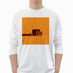 Nyan Cat Vintage White Long Sleeve T Shirts by Onesevenart