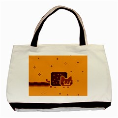 Nyan Cat Vintage Basic Tote Bag by Onesevenart