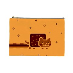 Nyan Cat Vintage Cosmetic Bag (large)  by Onesevenart