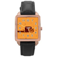Nyan Cat Vintage Rose Gold Leather Watch  by Onesevenart