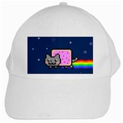 Nyan Cat White Cap by Onesevenart